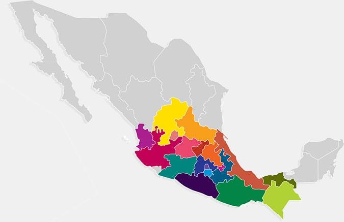 Mapa de México con los estados donde hay Tiendas Neto